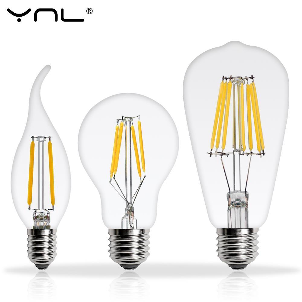 Real Watt Antique LED Edison Bulb E27 2W 4W 6W 8W Vintage LED Bulb E14 Lamp 220V Retro LED Filament Light Candle Light Lamp