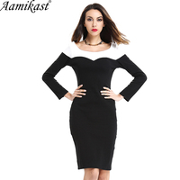 Aamikast Patchwork Long Sleeve Women Dresses 2018 Summer Elegant Full Sleeve Business Evening Party Bodycon Plus Size 4XL