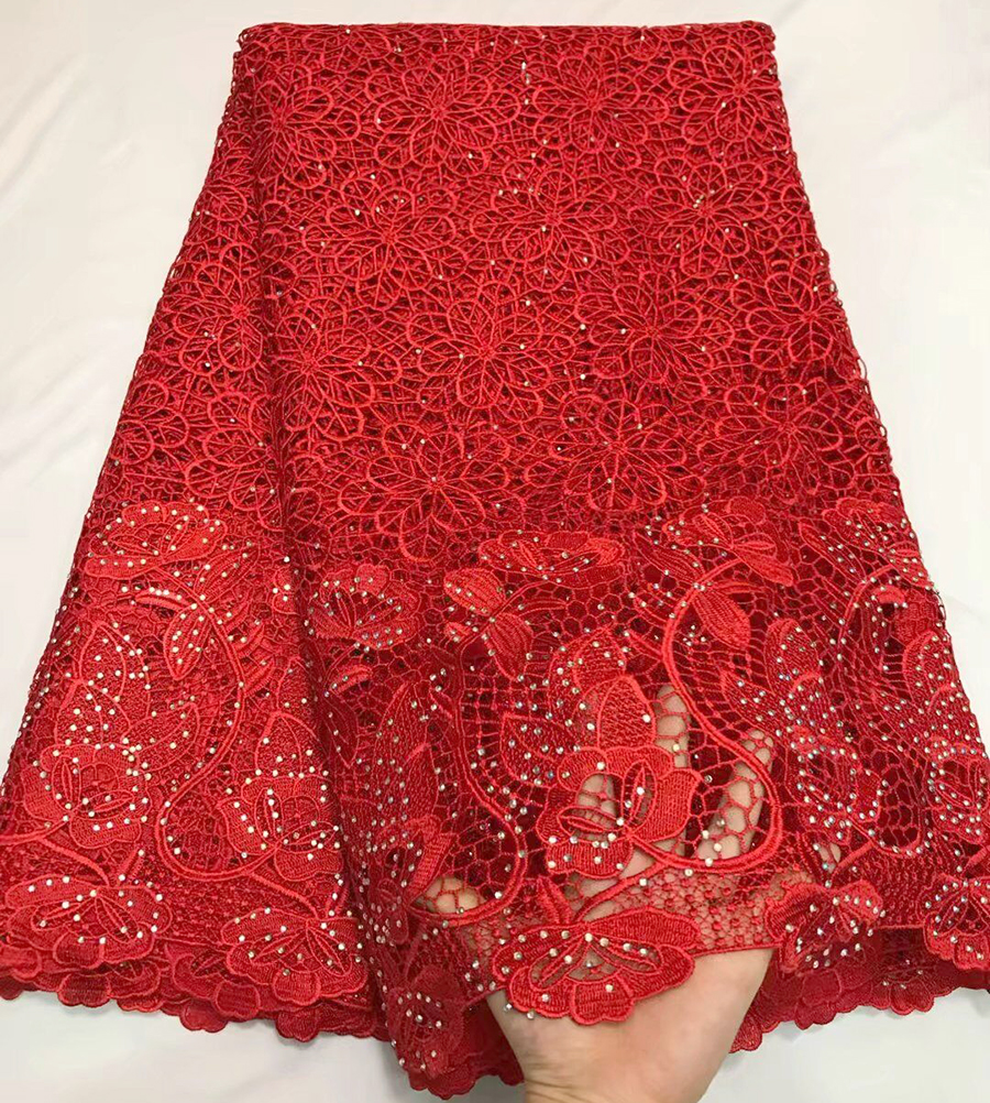 2018 RED Lace Trim African Lace Fabric High Quality Cord Lace Fabric With more stones Embroidery Fabric For Women party dress