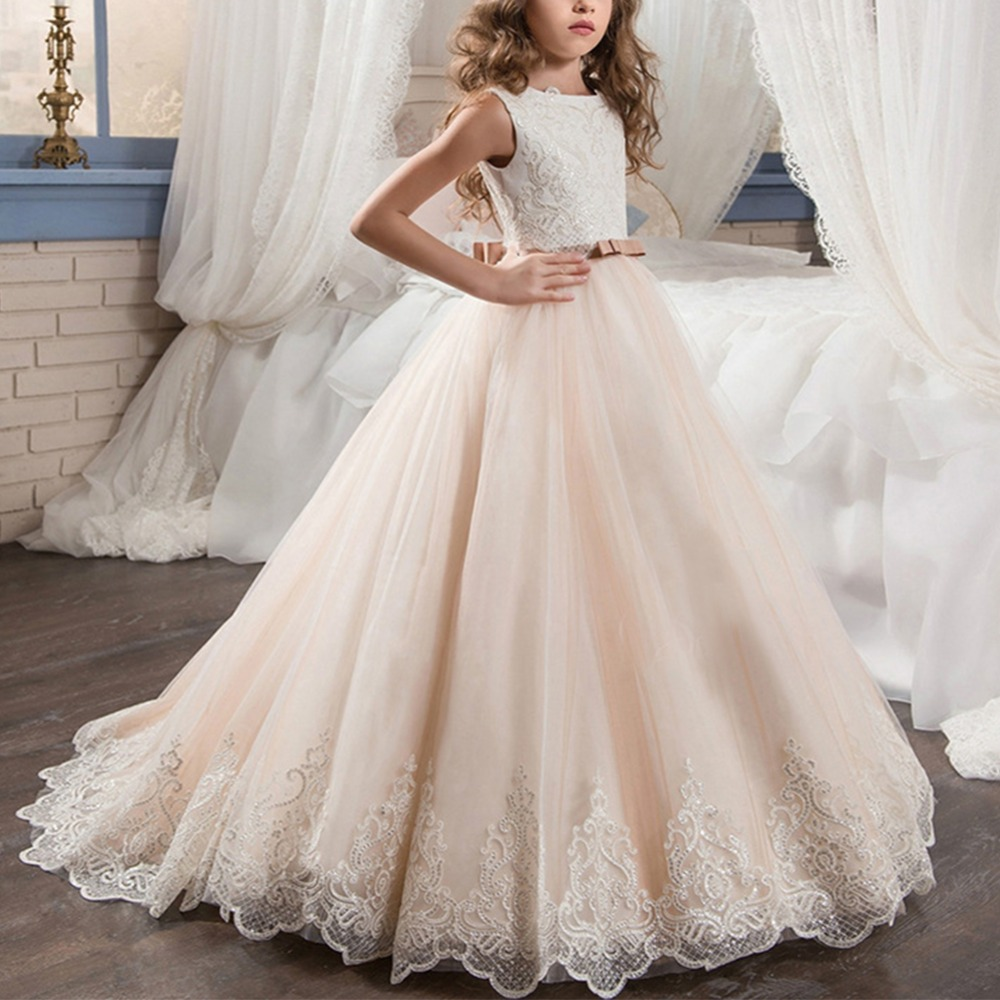 Elegant Girls Dress Lace Ball Gown Baby kid Communion Party Wedding Princess Dress Pleated Trailing Long Kids Dresses for GirlsElegant Girls Dress Lace Ball Gown Baby kid Communion Party Wedding Princess Dress Pleated Trailing Long Kids Dresses for Girls