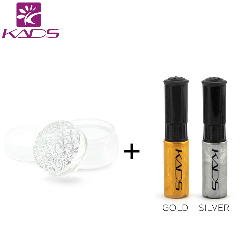 KADS New Arrival gold & silver nail stamping polish + 1pcs Clear Silicone stamper set for stamping nail art nail decoration 1 5mm 2mm 3mm gold silver hot fix flatback half round nail art rivet punk rock style for 3d nail art decoration