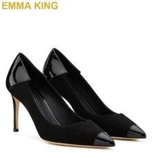 Шикарные черные туфли-лодочки на высоком каблуке с острым носком, лакированная кожа, замша, Лоскутная работа, женские туфли на высоком каблуке 10 см, 12 см, женские туфли на шпильке