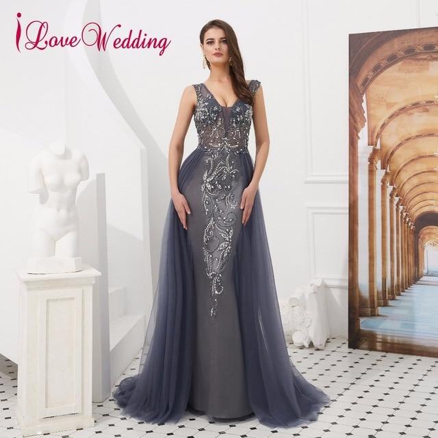 4fe69b0fe3c iLoveWedding 2019 Robe De Soiree Sexy V Neck Delicate Beaded Formal Dress  Open Back Luxury Gray Evening Gown In Stock