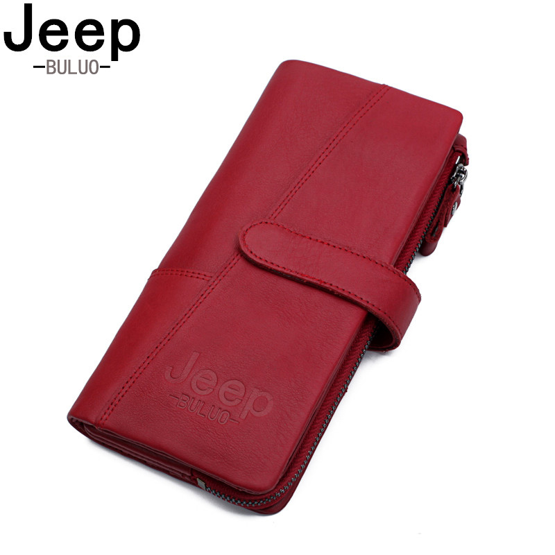BULUOJEEP Brand Leather Zipper Coin Purse Women Wallets Genuine Fashion Long Red Wallet Large Capacity Clutch Bag Lady Rfid