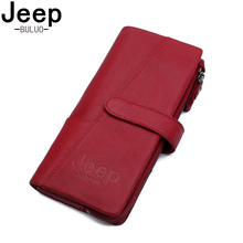 Купить с кэшбэком BULUOJEEP Brand Leather Zipper Coin Purse Women Wallets Genuine Fashion Long Red Wallet Large Capacity Clutch Bag Lady Rfid