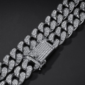 Image 3 - Uwin 20mm Heavy Miami Cuban Link Chain Necklace & Bracelet Set Full Iced Out Rhinestones Bling Bling Hiphop Jewelry For Men