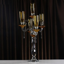 Big Gold Candle Holders Crystal Windproof Table Centerpiece Decorative Glass Demountable Candlestick Home Decoration