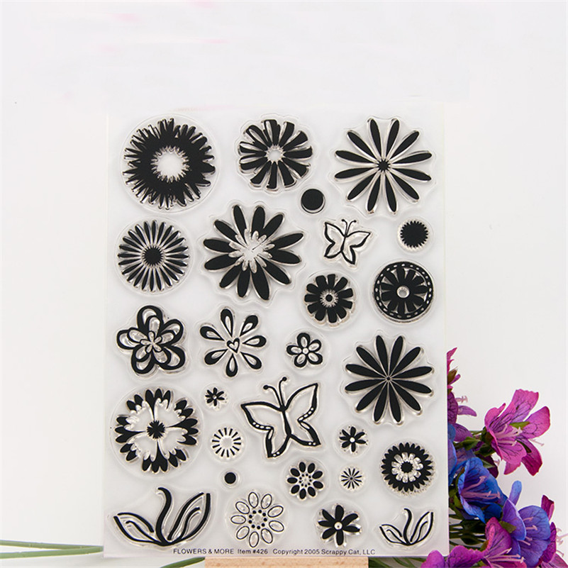 alll kinds of flowers frame design Transparent Clear Stamp Seal For DIY Scrapbooking Decor for paper card  RM-166 lovely animals and ballon design transparent clear silicone stamp for diy scrapbooking photo album clear stamp cl 278