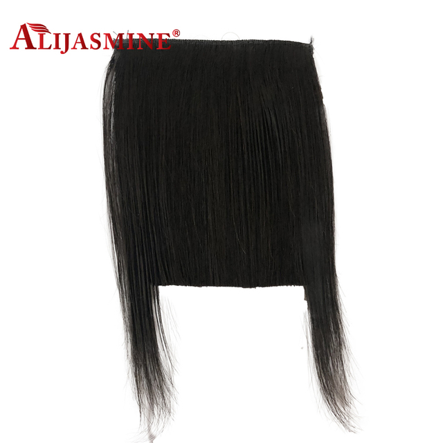 Alijasmine Hair Peruvian Remy Clip In Straight Human Hair Bangs With Baby Hair Natural Color Fringe Hair
