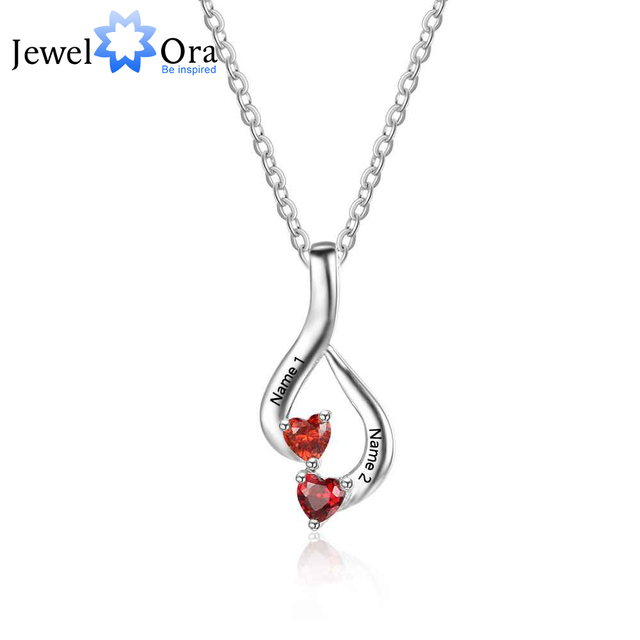 Personalized 925 Sterling Silver 2 Birthstone Necklace Pendants Mom Girlfriend Birthday Christmas Gift JewelOra NE101869