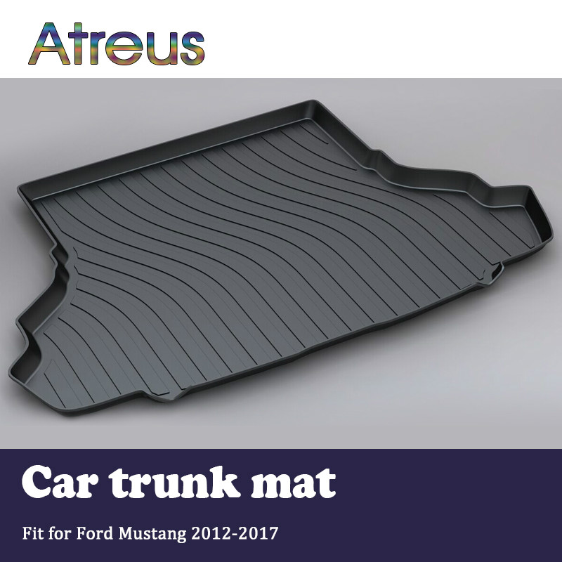 Atreus For Ford Mustang Accessories 2012 2013 2014 2015 2016 2017 Car Rear Boot Liner Trunk Cargo Mat Tray Floor Carpet Pad atreus for 2015 nissan murano 2016 2017 2018 accessories car rear boot liner trunk cargo mat tray floor carpet pad protector