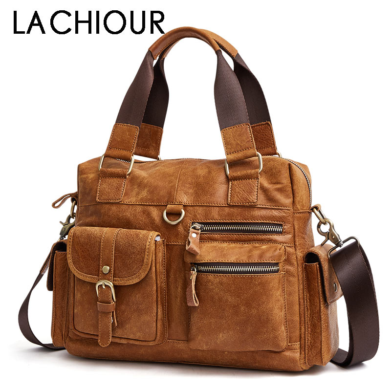Brwon Genuine Leather Men Travel Bag Handbags Business Casual Men's Laptop Shoulder Bags Leather Tote Briefcase mva genuine leather men bag business briefcase messenger handbags men crossbody bags men s travel laptop bag shoulder tote bags