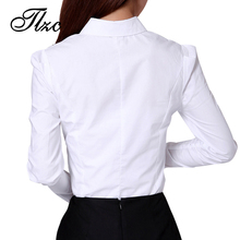 Beauty OL Style Lady White Shirts Plus Size S-3XL Summer Office Formal Clothing 2017 New Korean Women Career Tops