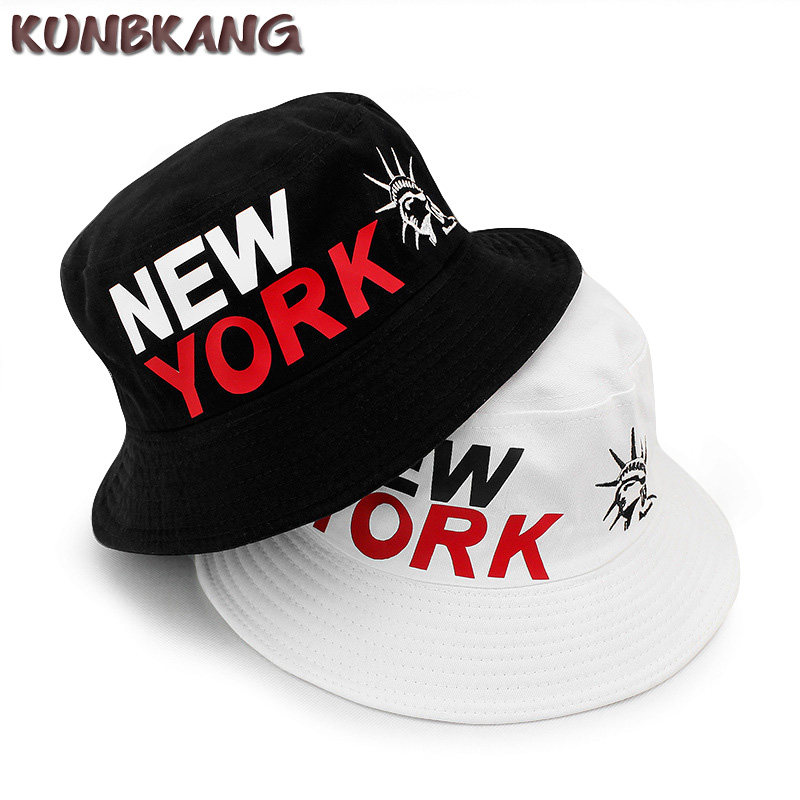 New Men NEW YORK Bucket Hat Women Hip Hop Embroidery Liberty Fishing Sun Hat  Protection Cap Outdoor Summer NY Visor Bucket Cap 397974eded