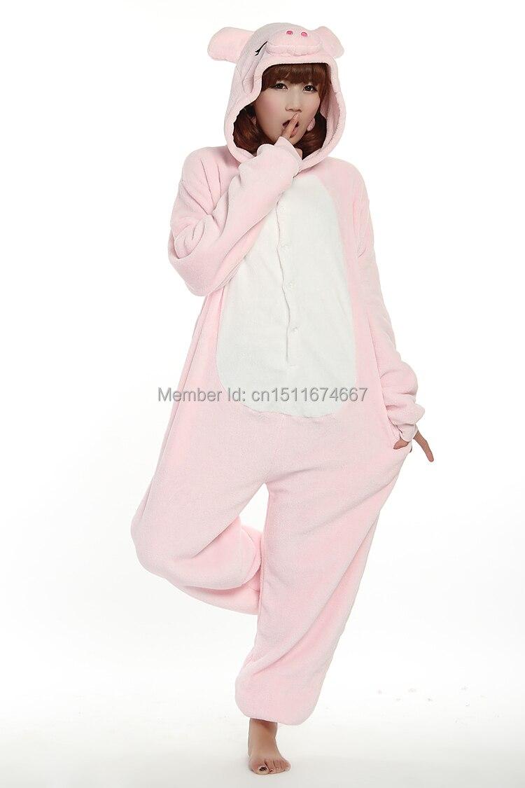 Dikke zachte flanel anime kostuum roze varken onesie pyjama halloween - Carnavalskostuums - Foto 4