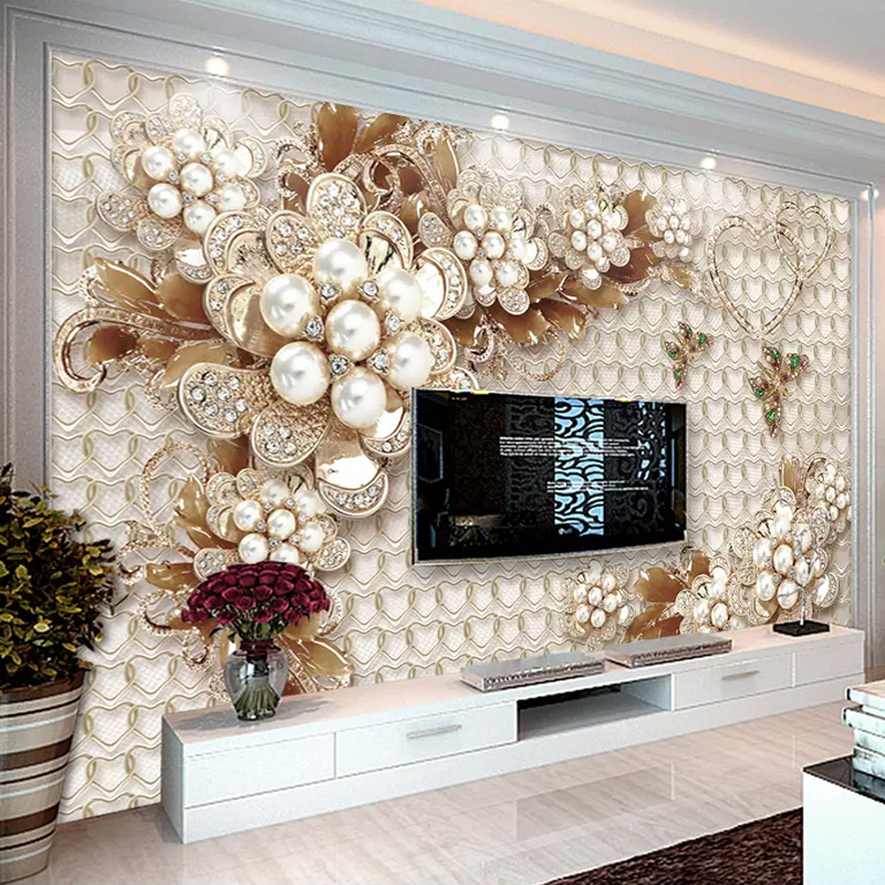 Custom Photo Wallpaper 3D Luxury Jewelry Flowers Mural Living Room TV Sofa Hotel Home Decor Wall Papers For Walls 3 D Frescoes