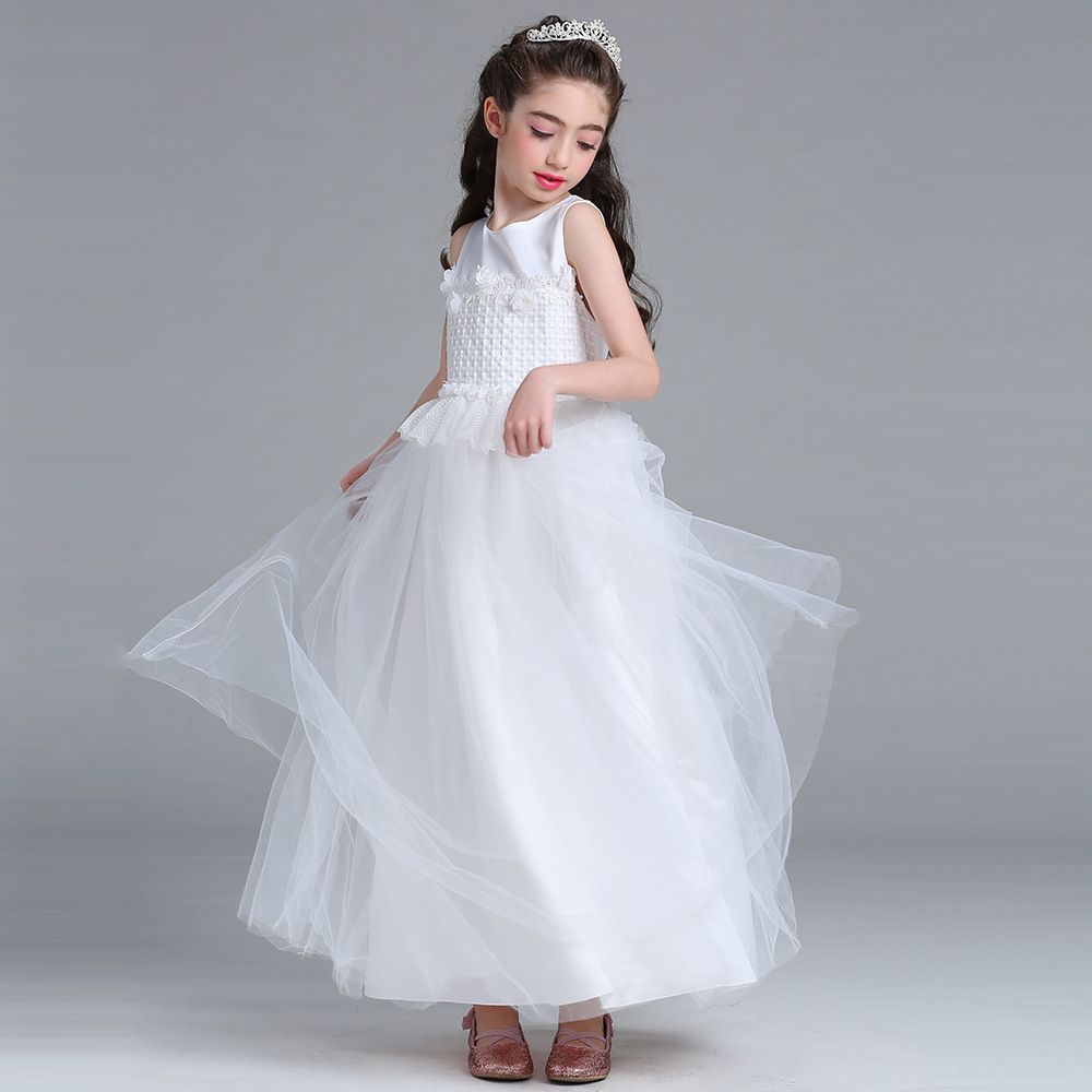 Tulle Long Flower Girl Dress Children Girl Sleeveless Birthday Party Butterfly Dress A-Line Fancy Princess Mother Daughter Dress leaves print sleeveless a line vintage dress
