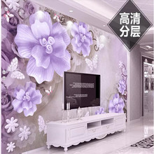 Custom wallpaper HD three-dimensional embossed rose pearl Nordic vintage jewelry sofa living room bedroom wall