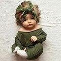 Baby Girls Mamelucos 2016 Nueva Desgin de Slash Cuello Verde Del Ejército Otoño Niñas Casuales de Manga Larga Del Mameluco Del Mono Del Mono Recién Nacido