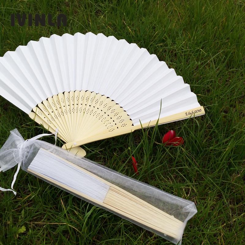 21cm personalized wedding white fan folding wedding fans gift