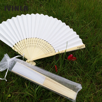 21CM Personalized Wedding white hand fan Folding Wedding Fans gift Favors with pouch for wedding party