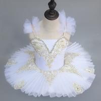 Professional Plattered Tutu Pink White Kids Sequined Straps Swan Lake Dance Costumes Ballet Leotard For Girls Pancake Dress