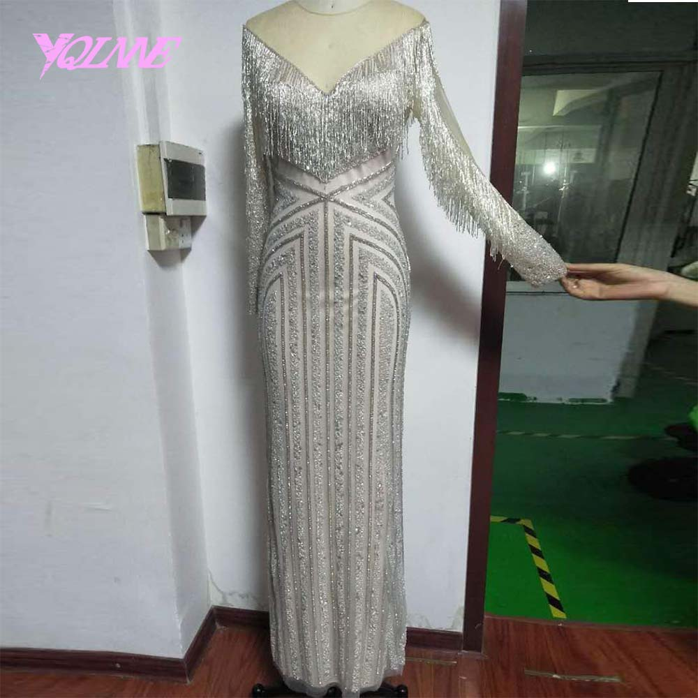 YQLNNE Gorgeous Sliver Beading   Evening     Dress   2019 Long Sleeve Mermaid Prom Gown Vestido De Festa