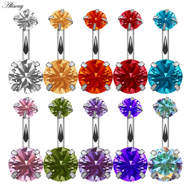 Alisouy 1 PCS Navel Double Fashion round Crystal Belly Button Rings Surgical Steel Body Jewelry women Sexy Navel Piercing
