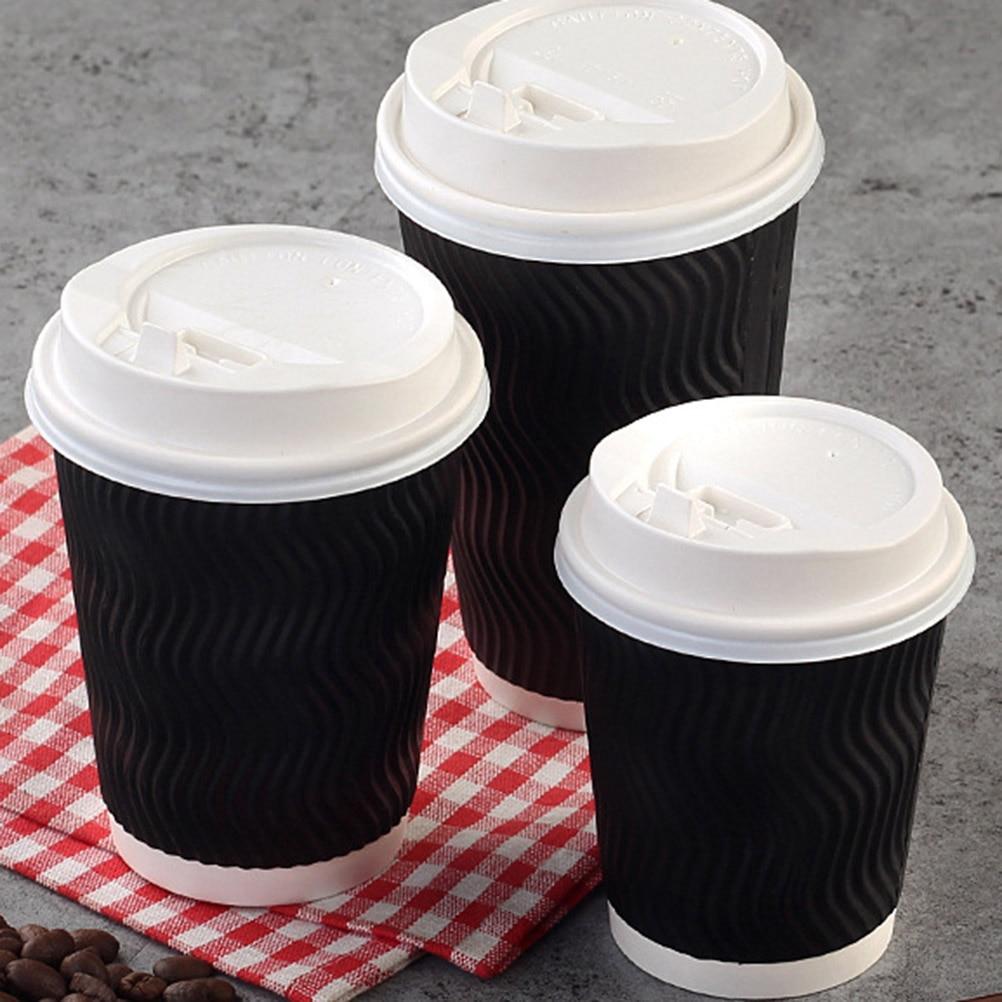 أكواب قهوة 50 قطعة للاستعمال مرة واحدة أكواب ورقية عازلة للوجبات الجاهزة بدون غطاء 8 أوقية أسود أكواب للاستعمال مرة واحدة Aliexpress