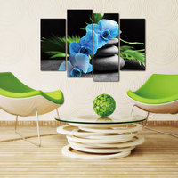 4 Pieces Modular Pictures Orchid Flower Zen Stones Painting Wall Art Picture Print On Canvas Modern