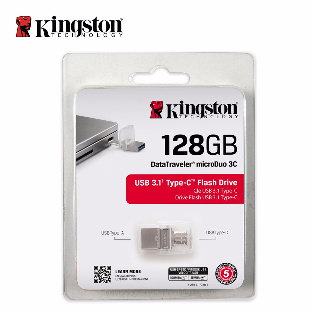 Kingston original 128gb OTG Type-C USB 3.0 Pen Drive memory stick  MicroDuo usb 3.1 flash pendrive U disk for PC/Smartphone