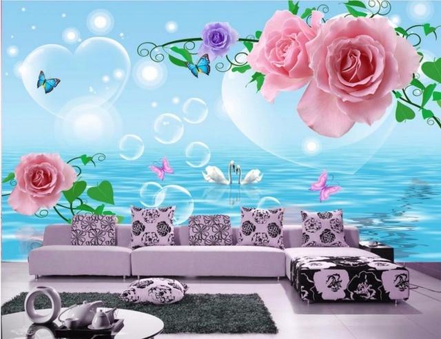 Personnalise Photo 3d Chambre De Papier Peint Romantique Rose Swan