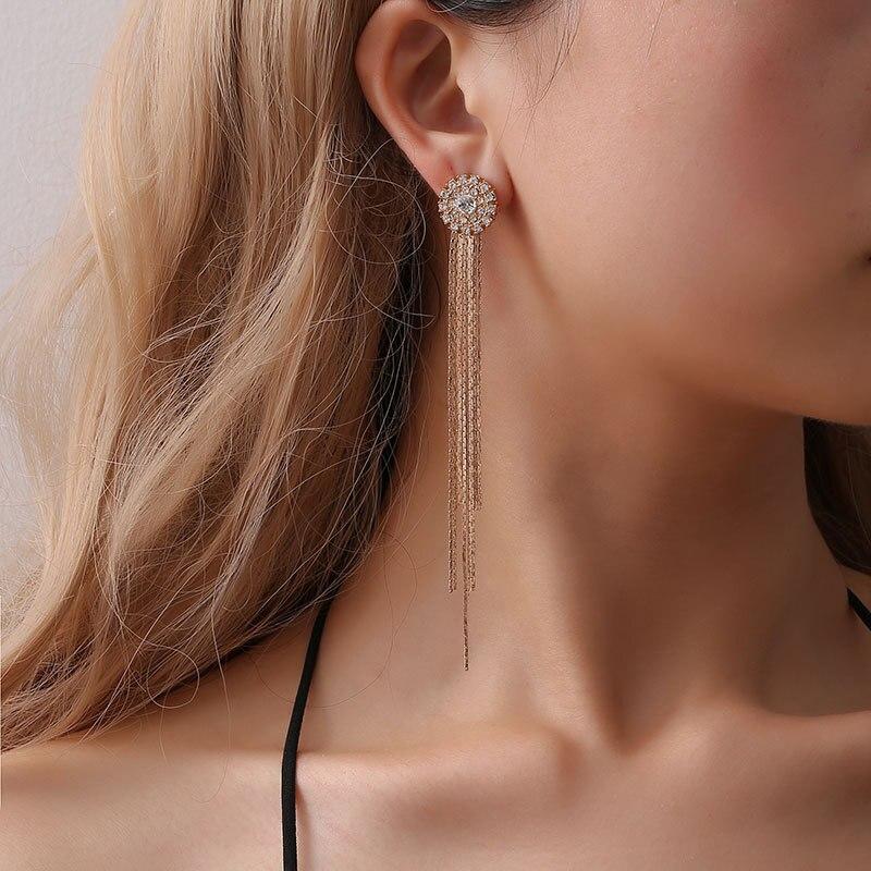 Fashion femmes plaqué argent strass cristal oreille Boucles d/'oreille Dangle chaîne