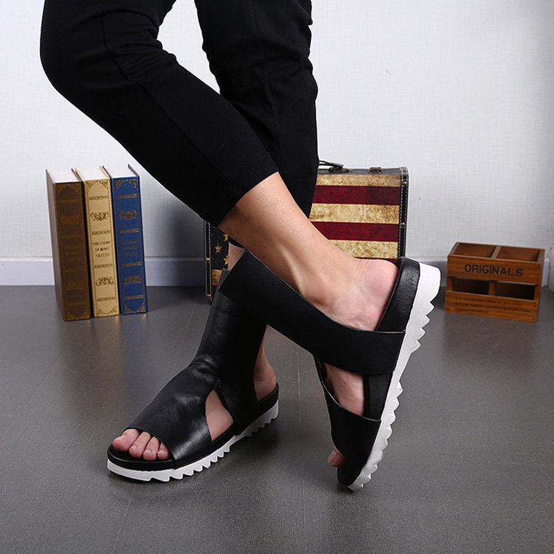 2018 Newest Luxury Men Shoes Rock Summer Men Sandals Gladiator Handsome Leather Sandalias Hombre Hollow Slip on Men Sandal, US12