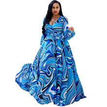 цена Beach Chiffon Long Dress Print Ladies Casual Loose Dress Long Sleeve V-neck Belt Large Size Dress S-XXL-5XL