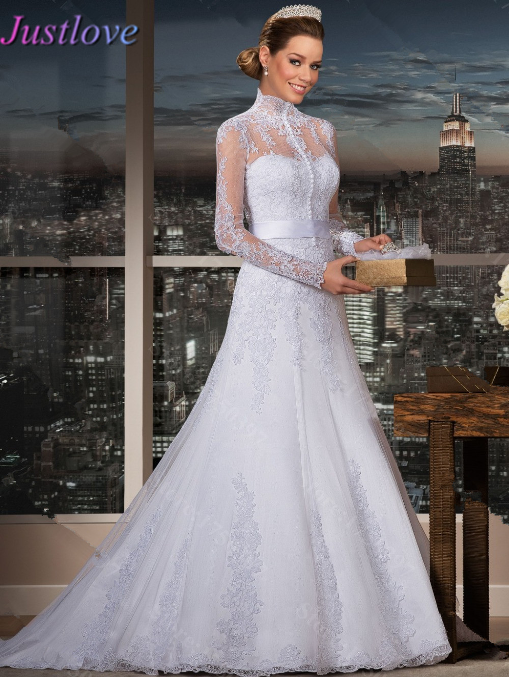 Vestidos novia cuello alto encaje