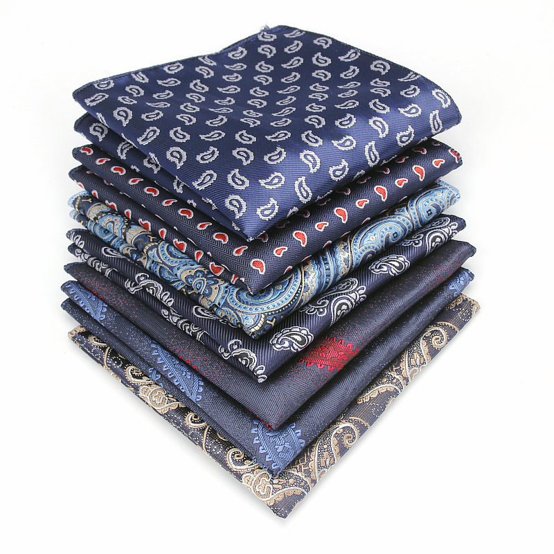 YISHLINE Men's Polyester Silk Handkerchief Paisley Pocket Square Groom Prom Wedding Party Chest Towel Hankies Accessories