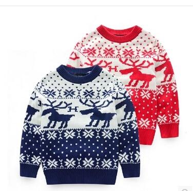 Kids 2014 Korean children deer jacquard knit boys girls pullover ...