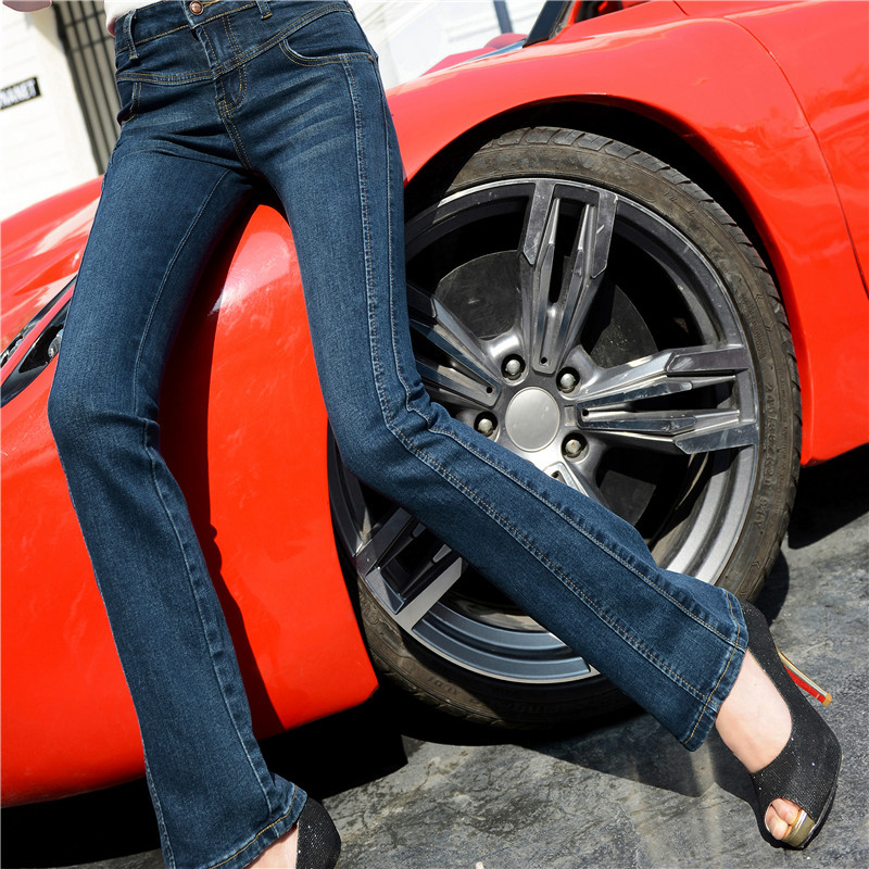 Ladies mid waist full length denim flare pants plus size fashion street wear slim fit elastic