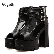 Gdgydh Cover Heels Platform Women Sandals 2019 New High Heels Women Shoes Zipper Black Peep Toe Summer Party Shoes Female Mesh(China)