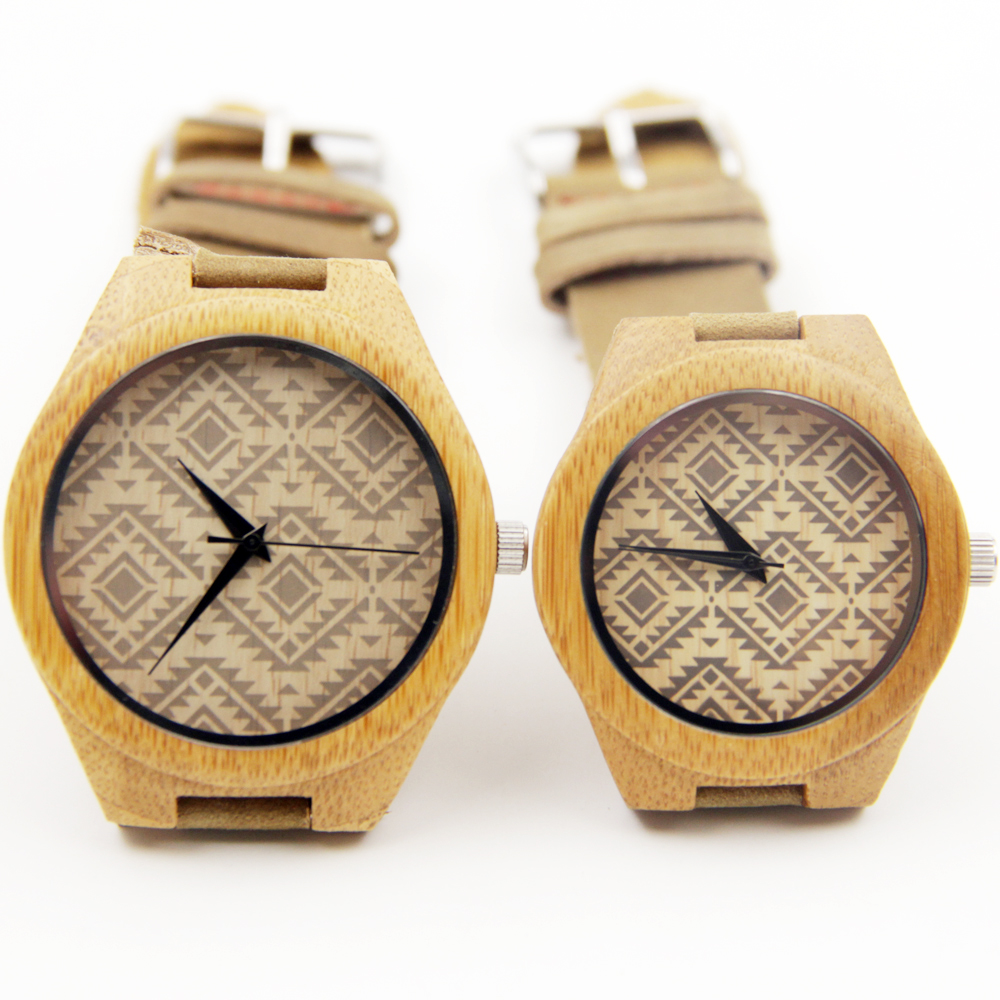 New Causal Genuine Cowhide Leather Lovers Luxury Men Watches 100 Natural Bamboo Wood Wristwatch For Male