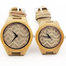 Nueva Causal de Cuero de Vaca Genuino Amantes de Los Hombres de Lujo Relojes 100% Reloj Para Hombre Regalos Idea Natural de Madera De Bambú Con la Caja