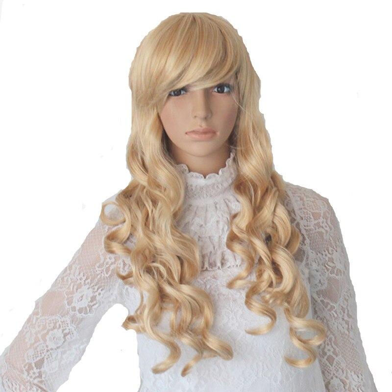 Blonde long Princess cosplays curly Peluca   headwear   for Woman Halloween Costumes Carnival Christmas Purim Nightclub party dress