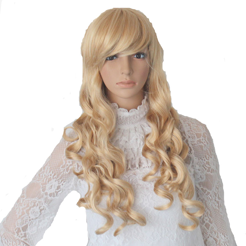 Blonde long Princess cosplays curly Peluca headwear for Woman Halloween Costumes Carnival Christmas Purim Nightclub party dress