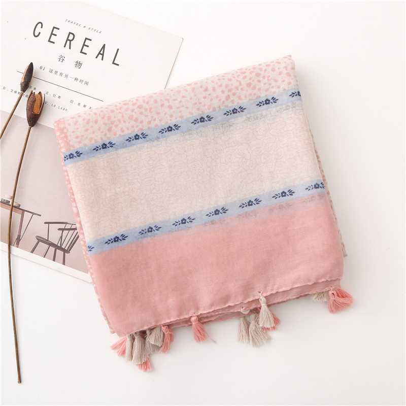 women hijab   scarf   female autumn spring Japanese Harajuku style long white pink print patchwork neck   scarf     wraps