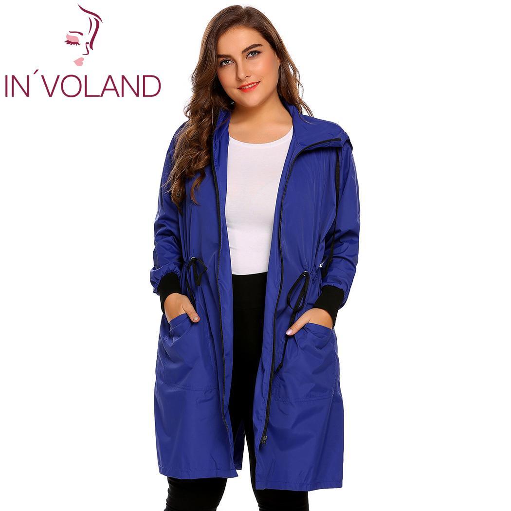 IN'VOLAND Femmes Imperméable Veste Plus La Taille XL-5XL Capuche Manches Longues Léger Étanche Long Grand Imperméable Pardessus Grande Taille