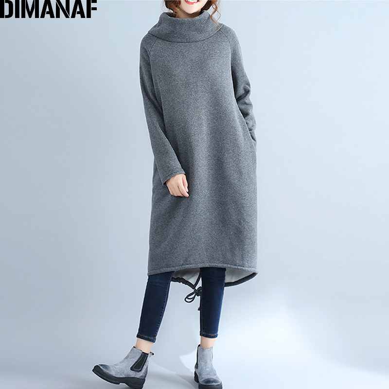 c296670a9 DIMANAF Mulheres Longos Vestidos de Gola Alta de Algodão Engrossar Quente Roupas  Femininas Senhora Elegante Vestido Plus Size Vestido de Outono Inverno 2018