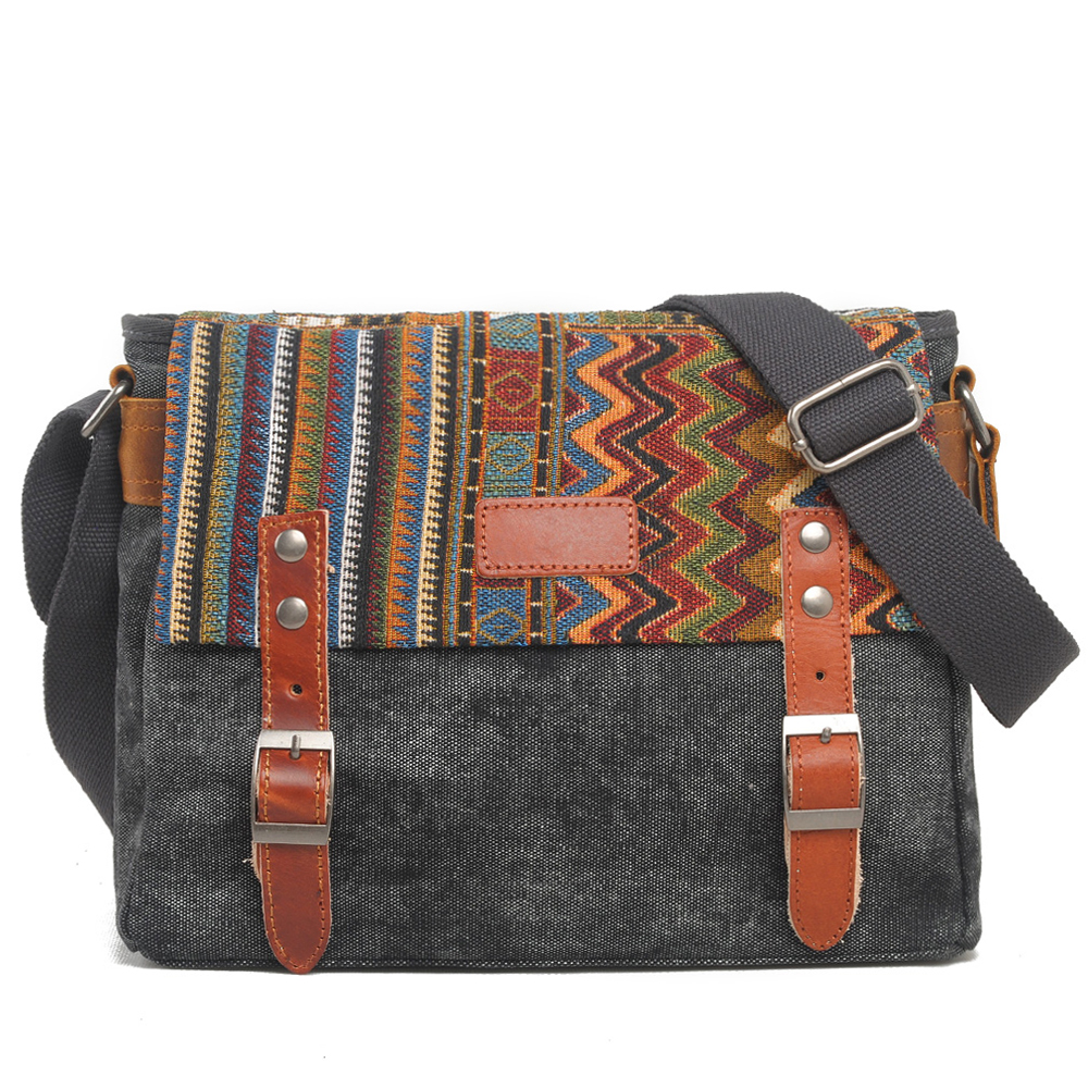 Muchuan 6007# New colorful ethnic style shoulder bag laptop backpack life accessories canvas bag image