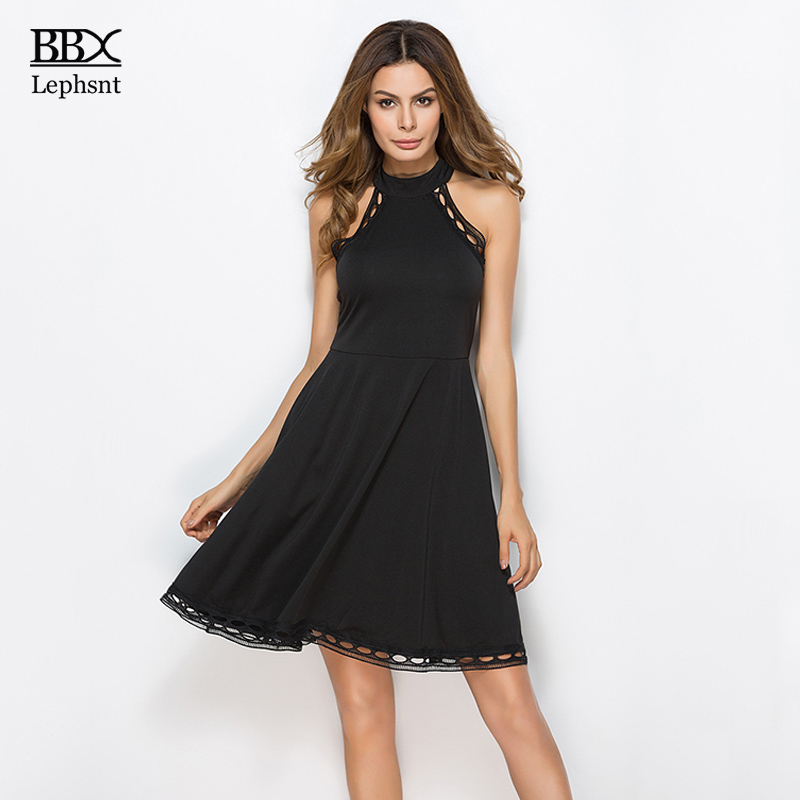BBX Lephsnt Elegant Hollow Out Summer Dresses 2018 Ladies Casual Solid Sleeveless High Waist Women Madi Dress robe ete B84055 ...