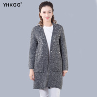2017 Pearl Decoration Women Knitted Cardigan Sweaters Outwear Winter Long Sleeve Casual Loose Female Long Sweater